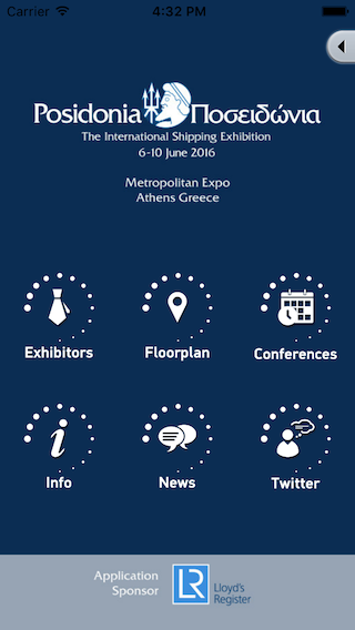 Posidonia 2016, home screen